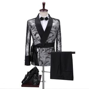 Other - Men Sliver Double Breasted Tuxedo + Pants